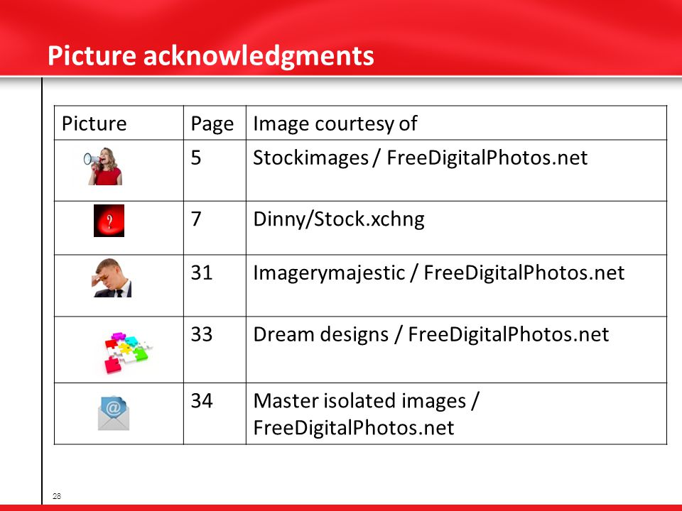 Picture acknowledgments PicturePageImage courtesy of 5Stockimages / FreeDigitalPhotos.net 7Dinny/Stock.xchng 31Imagerymajestic / FreeDigitalPhotos.net 33Dream designs / FreeDigitalPhotos.net 34Master isolated images / FreeDigitalPhotos.net 28