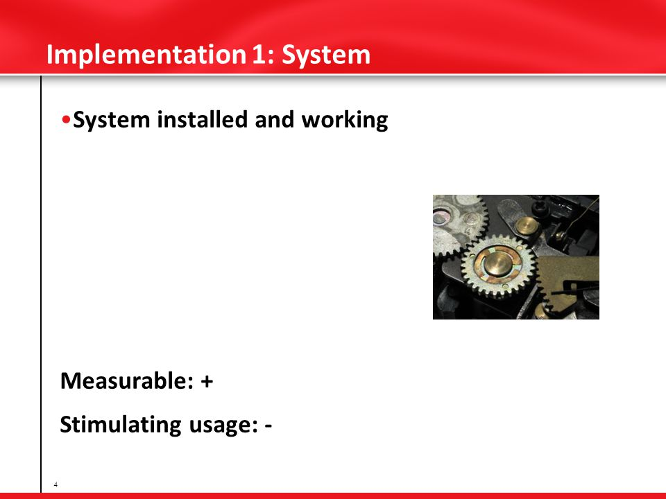 Implementation 1: System System installed and working Measurable: + Stimulating usage: - 4