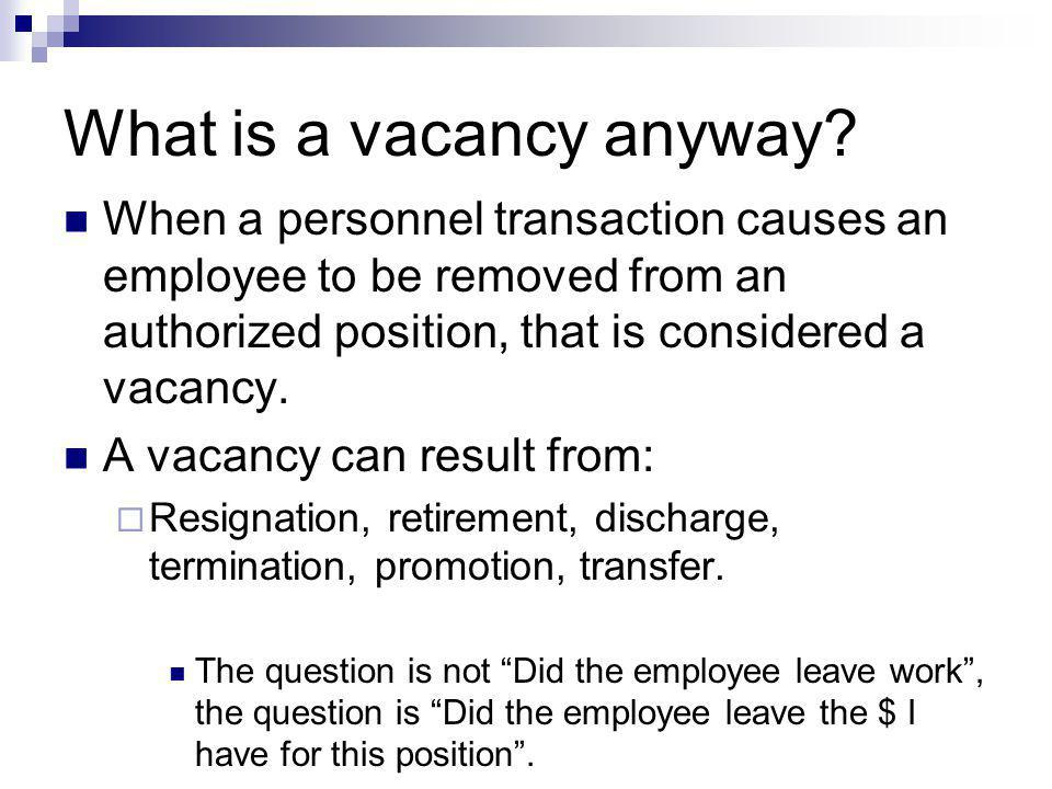 What is a vacancy anyway.