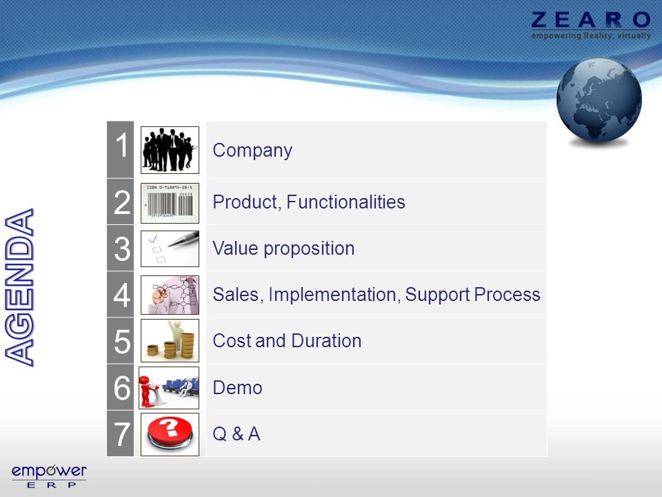 1 Company 2 Product, Functionalities 3 Value proposition 4 Sales, Implementation, Support Process 5 Cost and Duration 6 Demo 7 Q & A