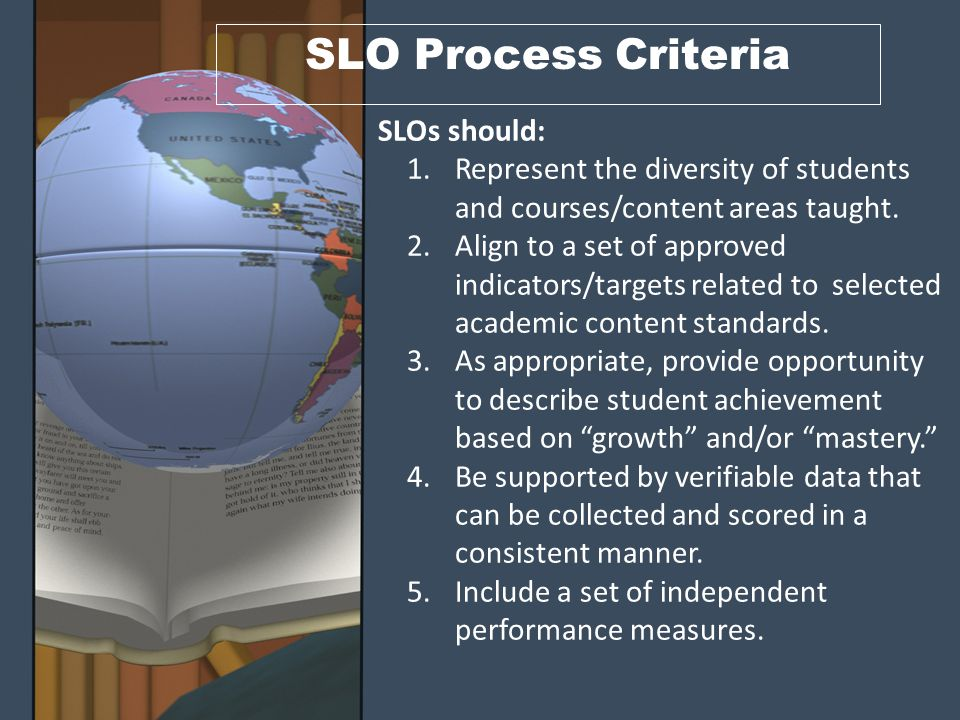 SLO Process Design Example Performance Measures Performance Indicator Goals/ Standards SLO GoalIndicator #1 Assessment #1a Assessment #1b Indicator #2 Assessment #2