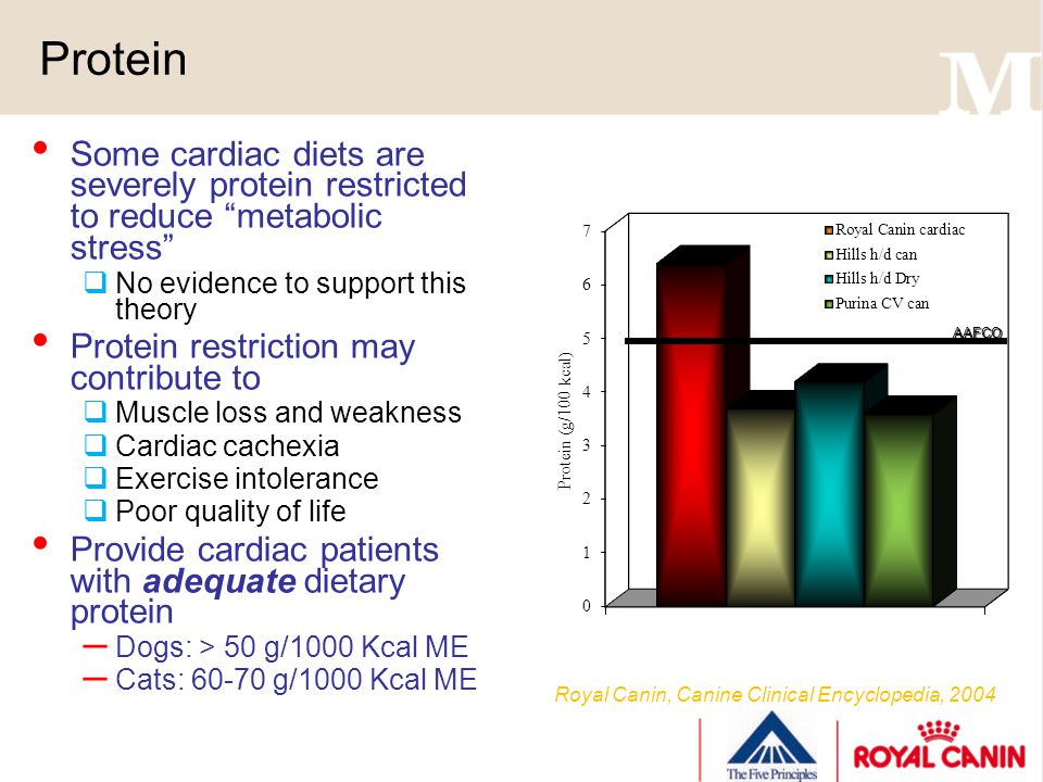 Protein Some cardiac diets are severely protein restricted to reduce metabolic stress No evidence to support this theory Protein restriction may contr