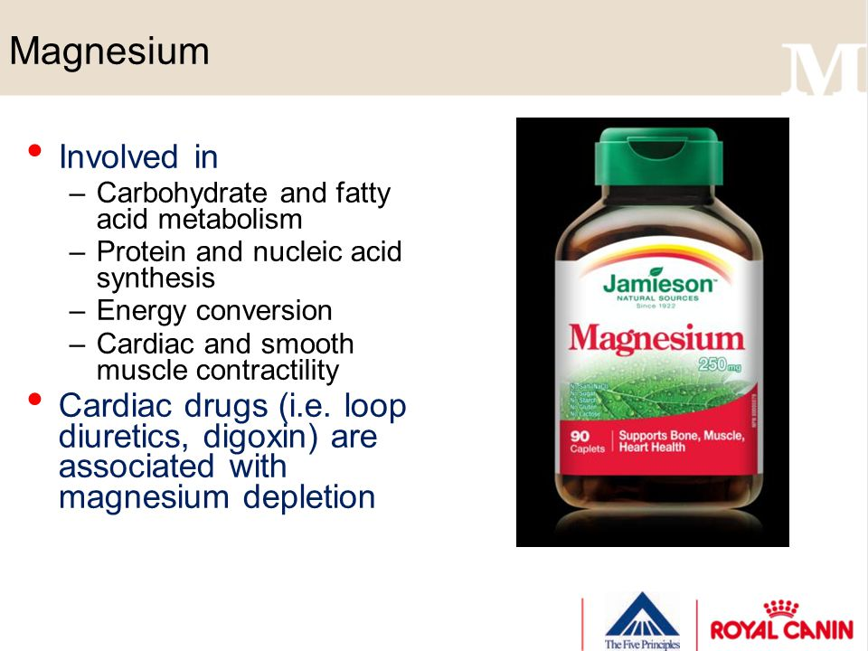 Magnesium Involved in –Carbohydrate and fatty acid metabolism –Protein and nucleic acid synthesis –Energy conversion –Cardiac and smooth muscle contra