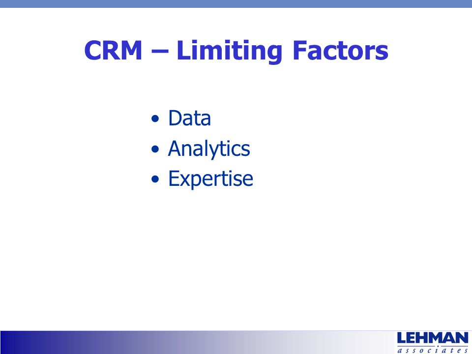 CRM – Limiting Factors Data Analytics Expertise