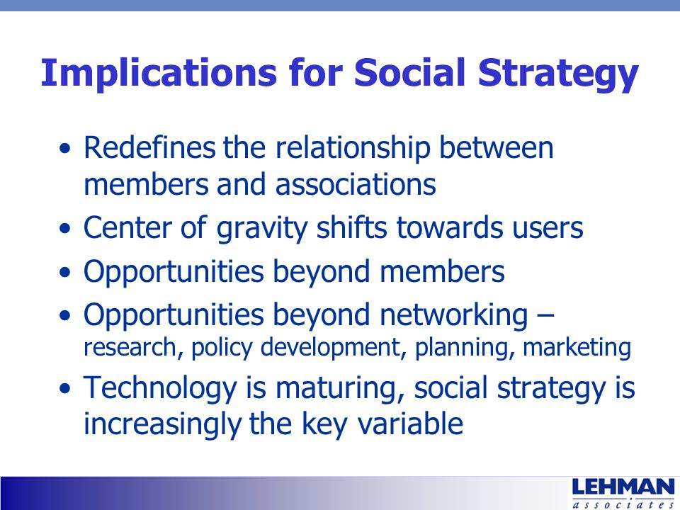 Implications for Social Strategy Redefines the relationship between members and associations Center of gravity shifts towards users Opportunities beyond members Opportunities beyond networking – research, policy development, planning, marketing Technology is maturing, social strategy is increasingly the key variable