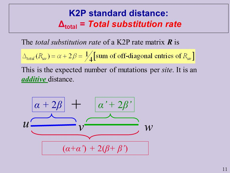 11 K2P standard distance: Δ total = Total substitution rate u vw The total substitution rate of a K2P rate matrix R is This is the expected number of mutations per site.