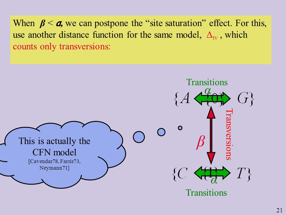 21 Transitions Transversions Transitions When β < α, we can postpone the site saturation effect.