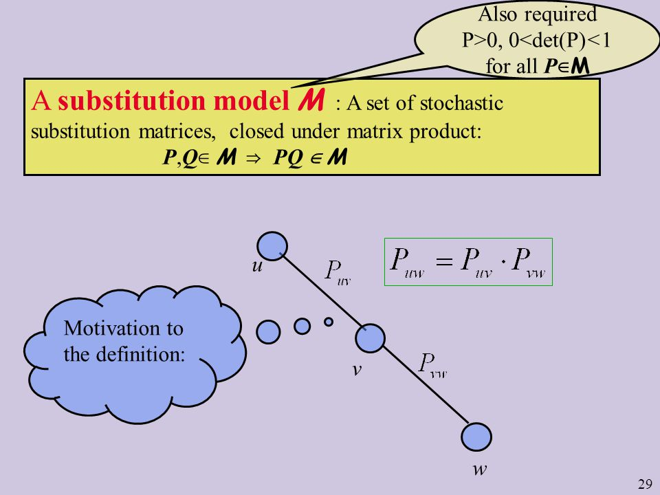 29 A substitution model M : A set of stochastic substitution matrices, closed under matrix product: P,Q M PQ M u v w Motivation to the definition: Also required P>0, 0<det(P)<1 for all P M