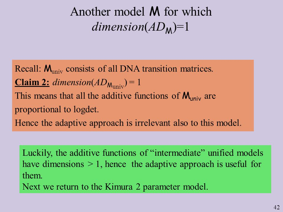 42 Another model M for which dimension(AD M )=1 Recall: M univ consists of all DNA transition matrices.