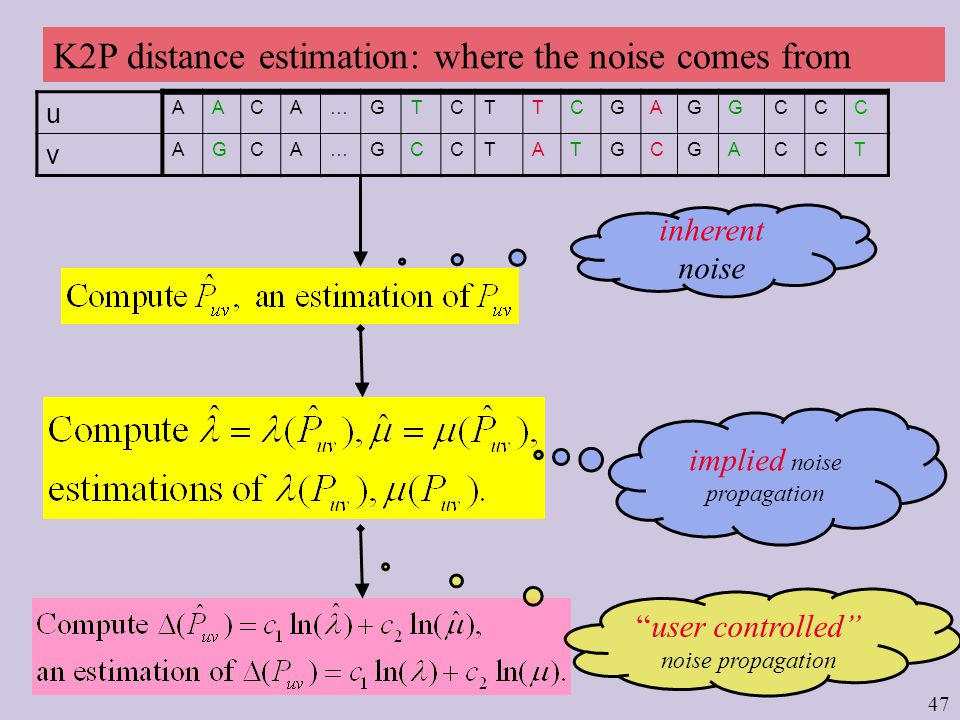 47 u AACA…GTCTTCGAGGCCC v AGCA…GCCTATGCGACCT K2P distance estimation: where the noise comes from inherent noise implied noise propagation user controlled noise propagation