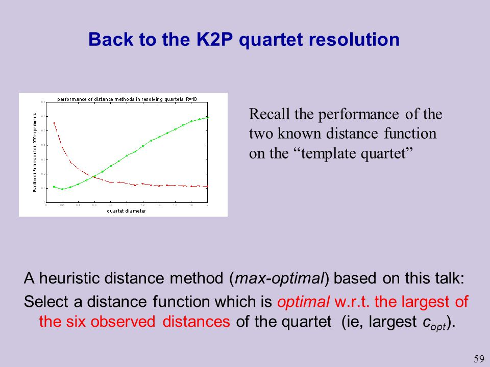 59 Back to the K2P quartet resolution A heuristic distance method (max-optimal) based on this talk: Select a distance function which is optimal w.r.t.