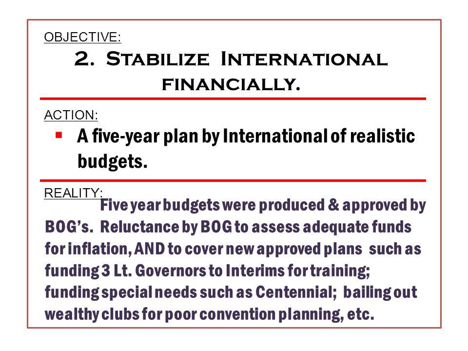 Each district to establish a written plan for club growth Each district formalize a plan to establish new clubs Each district formalize a funding plan International budget needs = ZERO 1.