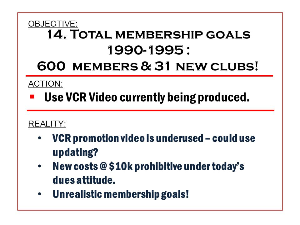 13. Specific club extension goals.