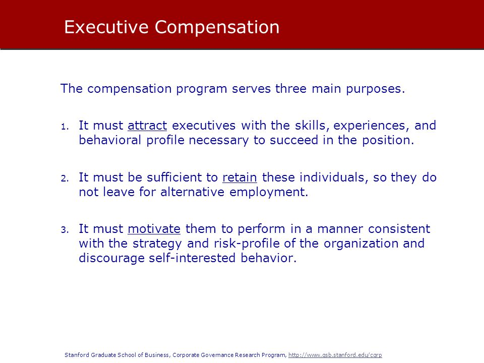 Stanford Graduate School of Business, Corporate Governance Research Program, http://www.gsb.stanford.edu/cgrphttp://www.gsb.stanford.edu/cgrp There is a large pay differential between the pay granted to the CEO and the pay granted to other senior executives.