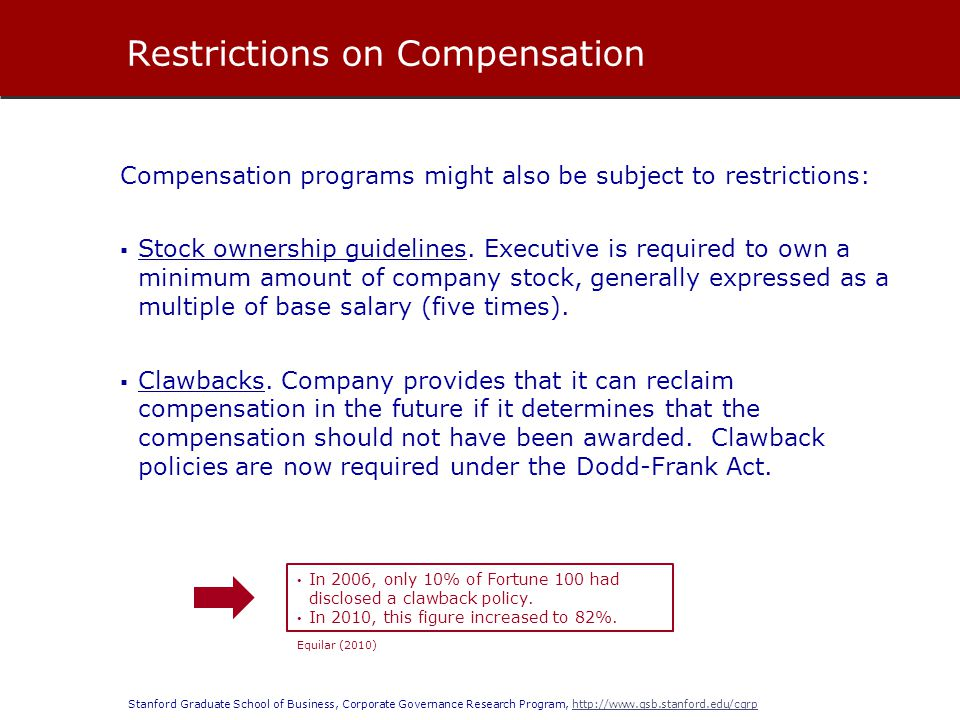 Stanford Graduate School of Business, Corporate Governance Research Program, http://www.gsb.stanford.edu/cgrphttp://www.gsb.stanford.edu/cgrp The compensation committee recommends compensation of the CEO and other executive officers.