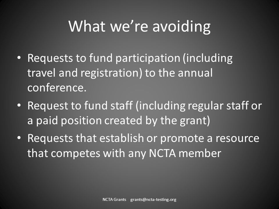 What were avoiding Requests to fund participation (including travel and registration) to the annual conference.