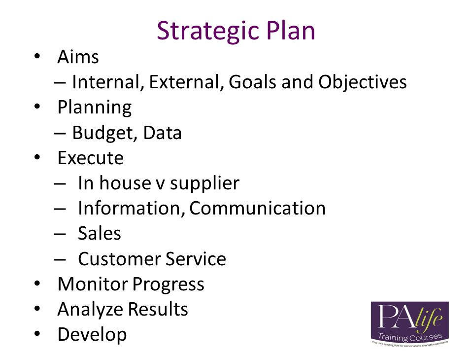 Strategic Plan Aims – Internal, External, Goals and Objectives Planning – Budget, Data Execute – In house v supplier – Information, Communication – Sa