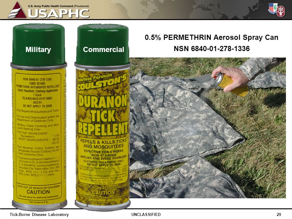 0.5% PERMETHRIN Aerosol Spray Can NSN 6840-01-278-1336 MilitaryCommercial 29 UNCLASSIFIEDTick-Borne Disease Laboratory