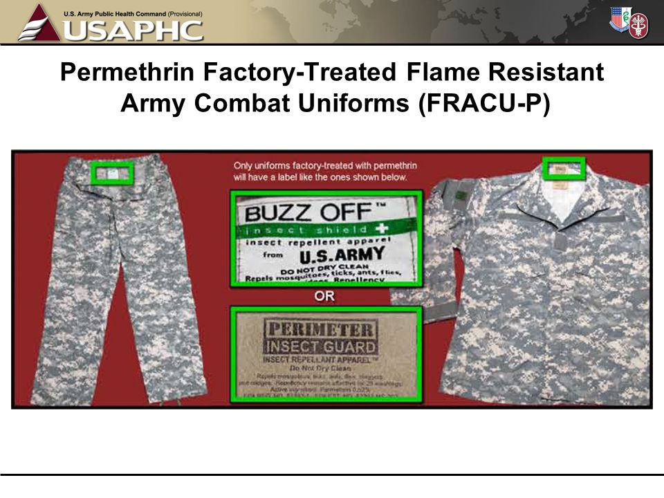 Permethrin Factory-Treated Flame Resistant Army Combat Uniforms (FRACU-P)