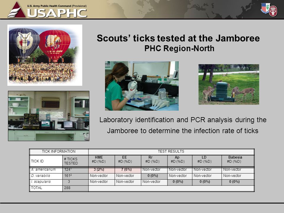 Laboratory identification and PCR analysis during the Jamboree to determine the infection rate of ticks TICK INFORMATIONTEST RESULTS TICK ID # TICKS T