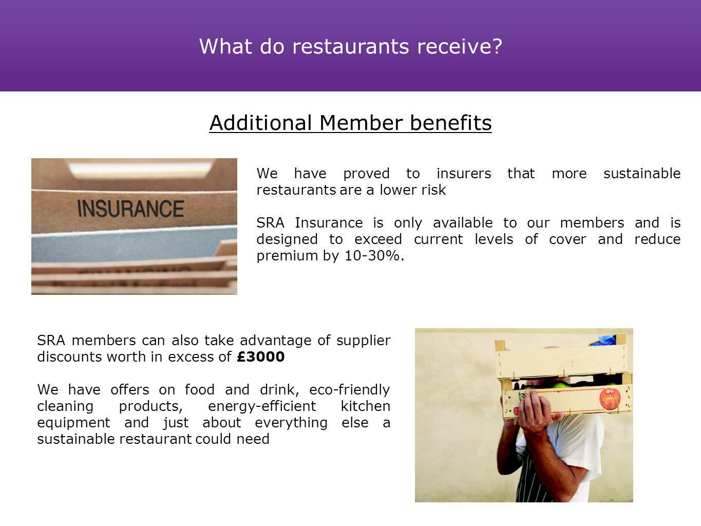 Member benefits Additional Member benefits We have proved to insurers that more sustainable restaurants are a lower risk SRA Insurance is only availab