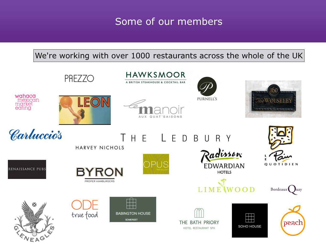 Some of our members We're working with over 1000 restaurants across the whole of the UK