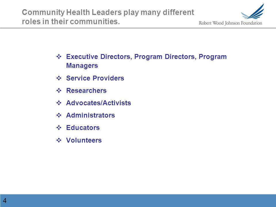 5 Some professions and occupations reported by Community Health Leaders…