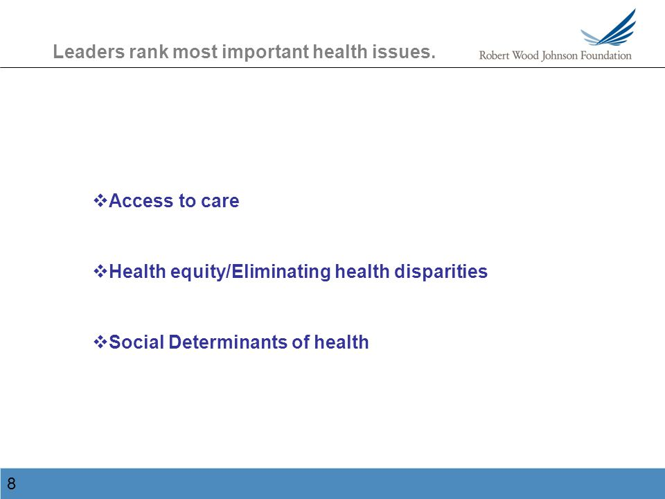 9 Leaders rank most important health issues.
