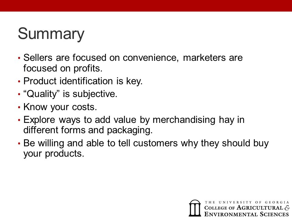 Summary Sellers are focused on convenience, marketers are focused on profits.