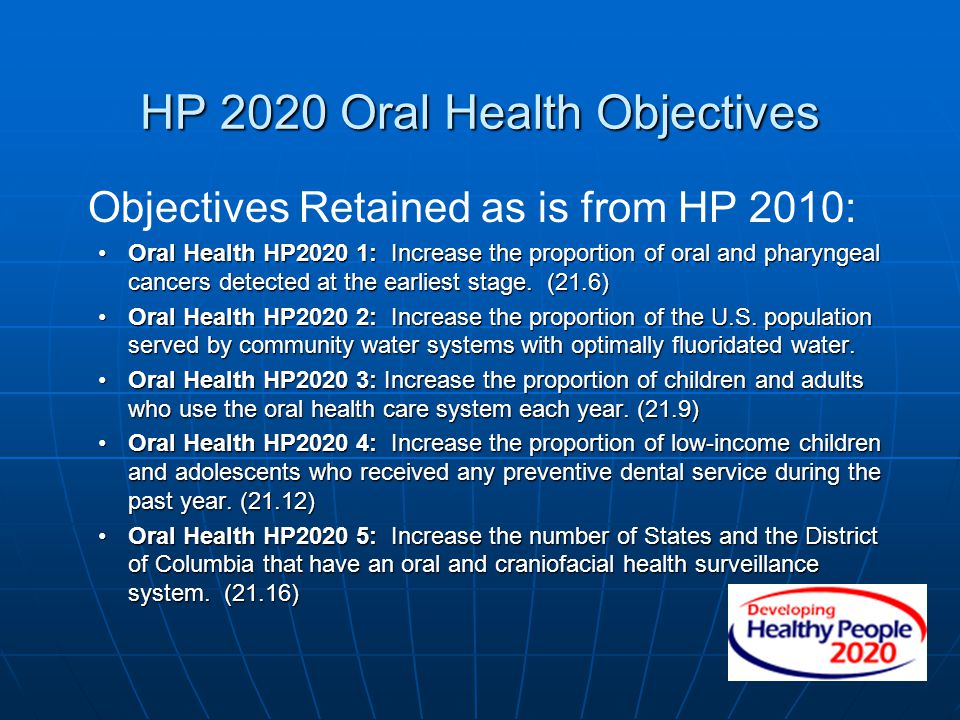 HP 2020 Oral Health Objectives Objectives Retained as is from HP 2010: Oral Health HP2020 1: Increase the proportion of oral and pharyngeal cancers de