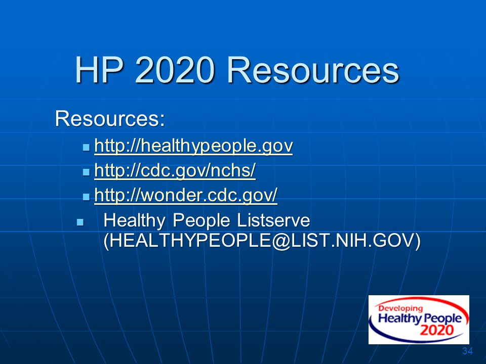 34 Resources: http://healthypeople.gov http://healthypeople.gov http://healthypeople.gov http://cdc.gov/nchs/ http://cdc.gov/nchs/ http://cdc.gov/nchs
