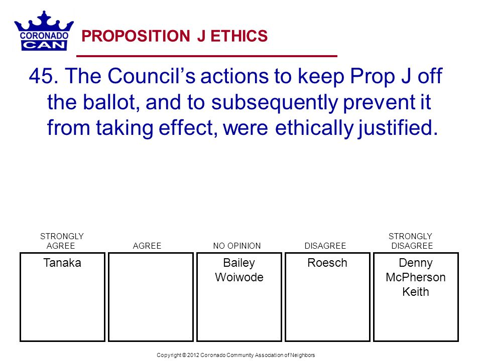 Copyright © 2012 Coronado Community Association of Neighbors PROPOSITION J ETHICS 45. The Councils actions to keep Prop J off the ballot, and to subse