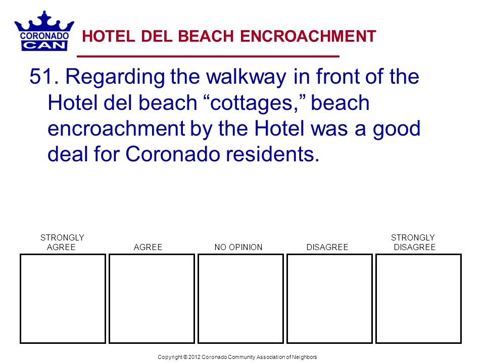 Copyright © 2012 Coronado Community Association of Neighbors HOTEL DEL BEACH ENCROACHMENT 51.