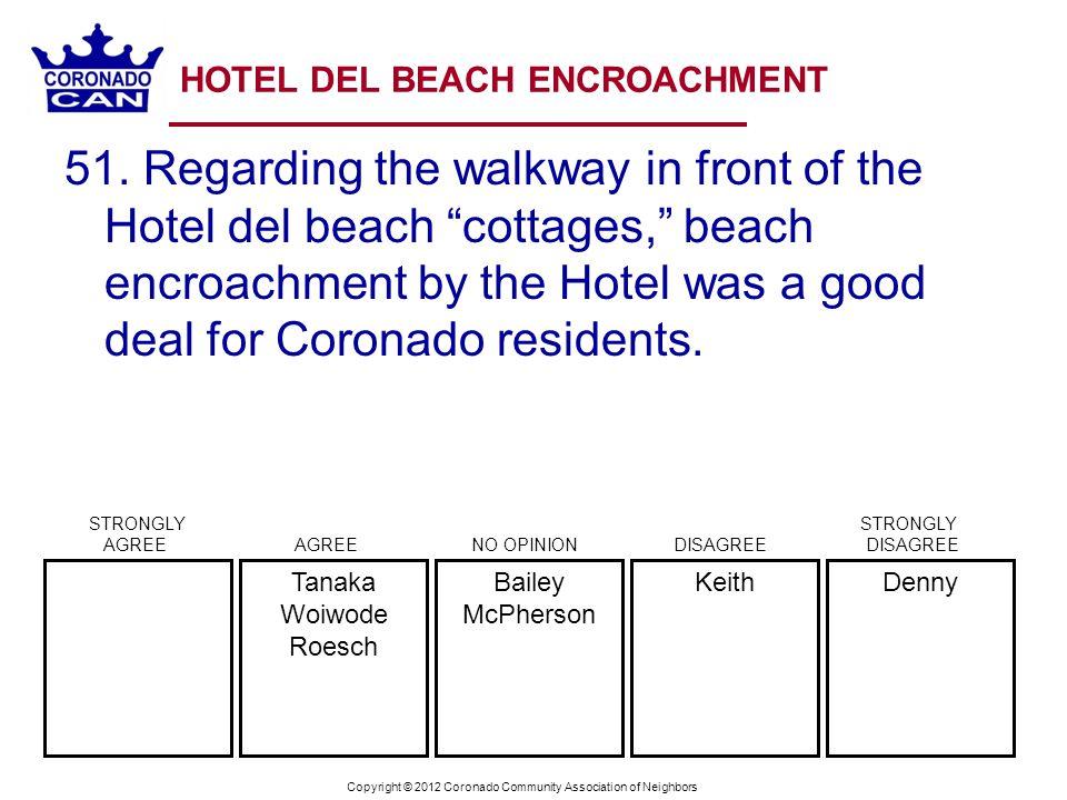 Copyright © 2012 Coronado Community Association of Neighbors HOTEL DEL BEACH ENCROACHMENT 51. Regarding the walkway in front of the Hotel del beach co