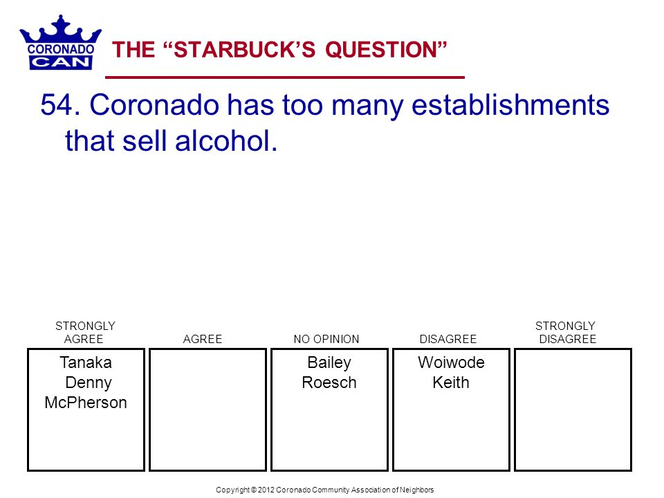 Copyright © 2012 Coronado Community Association of Neighbors THE STARBUCKS QUESTION 54.