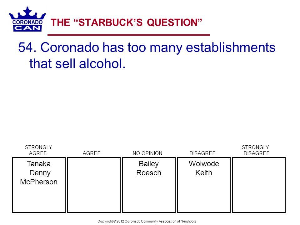 Copyright © 2012 Coronado Community Association of Neighbors THE STARBUCKS QUESTION 54. Coronado has too many establishments that sell alcohol. Woiwod