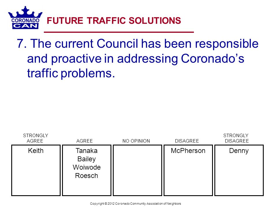 Copyright © 2012 Coronado Community Association of Neighbors FUTURE TRAFFIC SOLUTIONS 7.