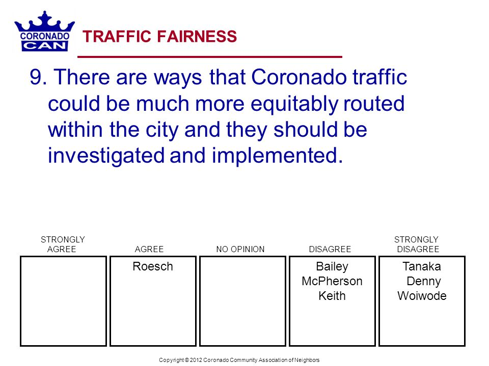 Copyright © 2012 Coronado Community Association of Neighbors TRAFFIC FAIRNESS 9.