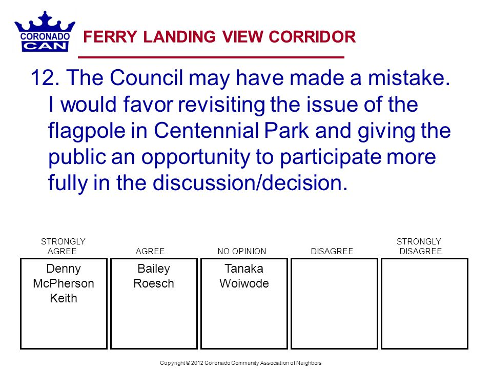 Copyright © 2012 Coronado Community Association of Neighbors FERRY LANDING VIEW CORRIDOR 12.
