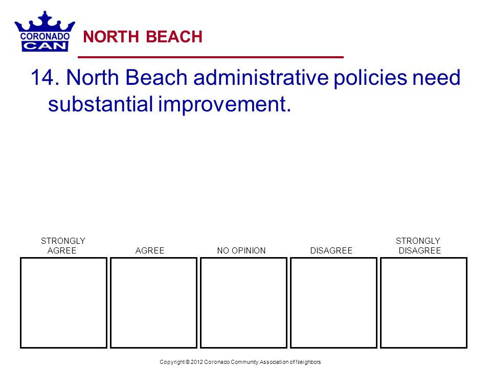 Copyright © 2012 Coronado Community Association of Neighbors NORTH BEACH 14. North Beach administrative policies need substantial improvement. STRONGL