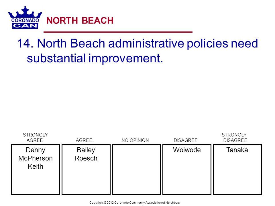 Copyright © 2012 Coronado Community Association of Neighbors NORTH BEACH 14. North Beach administrative policies need substantial improvement. TanakaW
