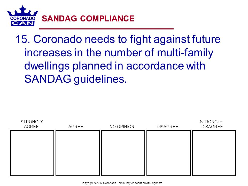 Copyright © 2012 Coronado Community Association of Neighbors SANDAG COMPLIANCE 15. Coronado needs to fight against future increases in the number of m