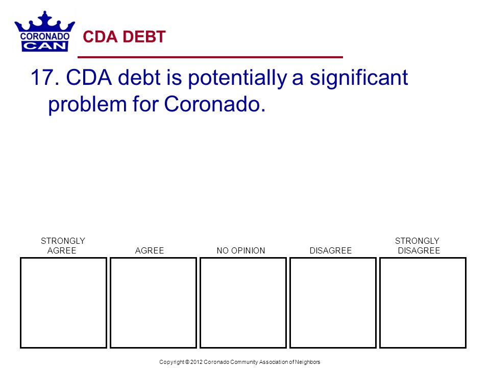 Copyright © 2012 Coronado Community Association of Neighbors CDA DEBT 17.
