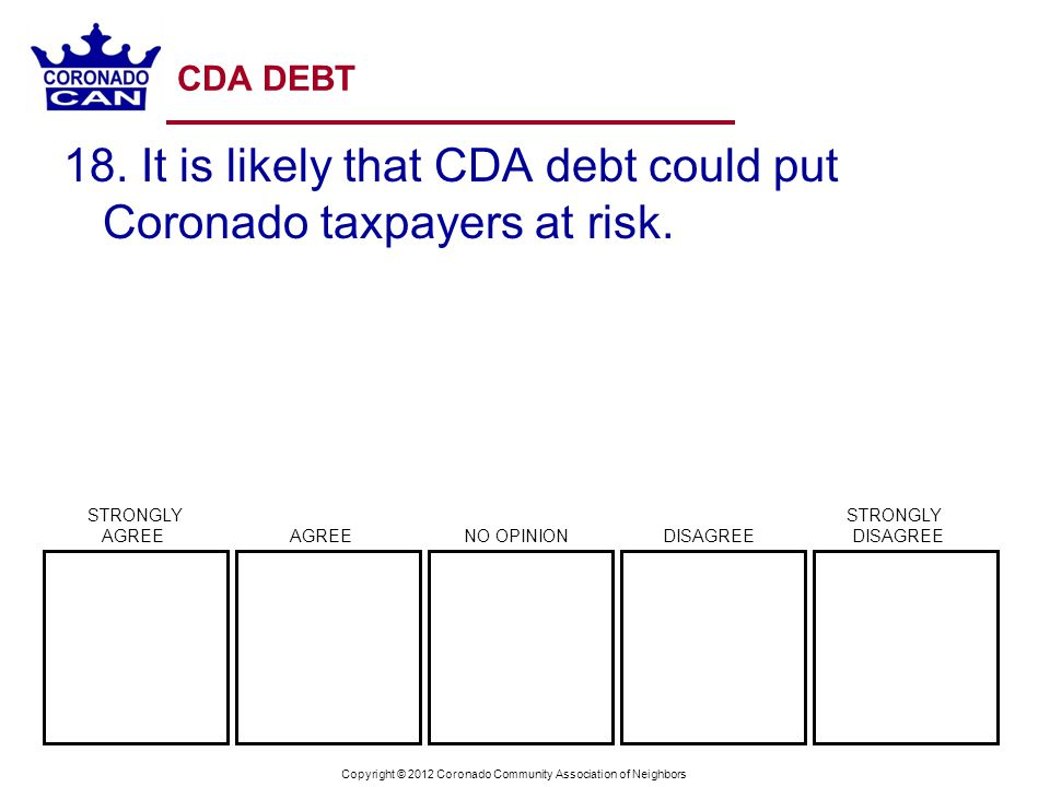 Copyright © 2012 Coronado Community Association of Neighbors CDA DEBT 18.