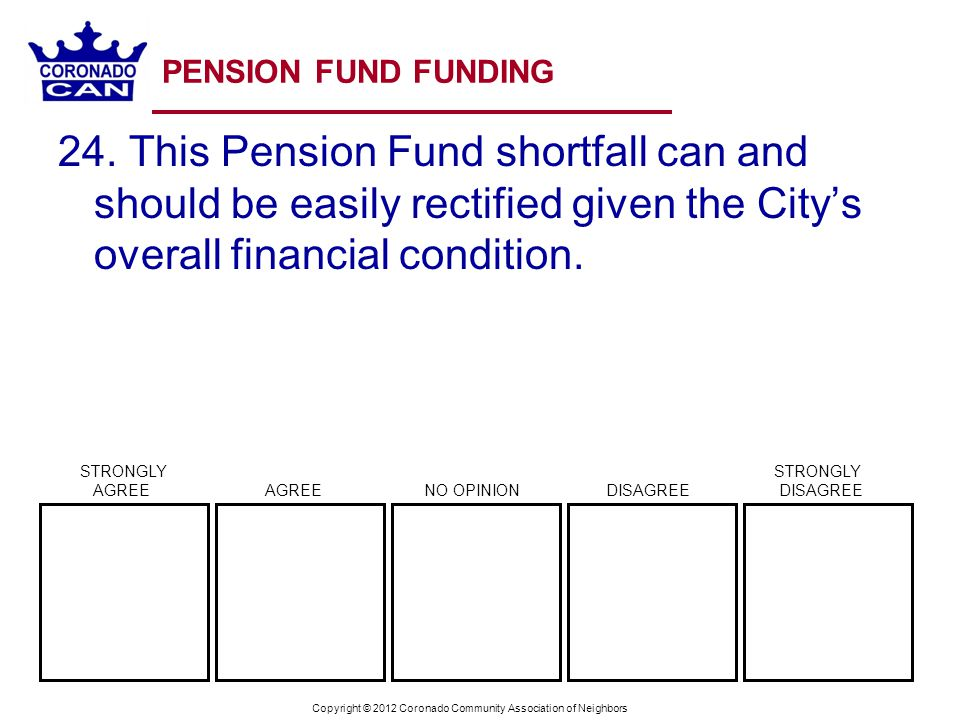 Copyright © 2012 Coronado Community Association of Neighbors PENSION FUND FUNDING 24.