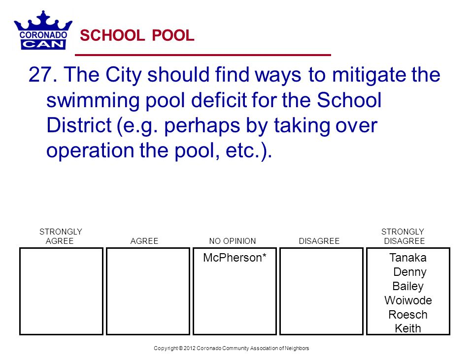 Copyright © 2012 Coronado Community Association of Neighbors SCHOOL POOL 27. The City should find ways to mitigate the swimming pool deficit for the S