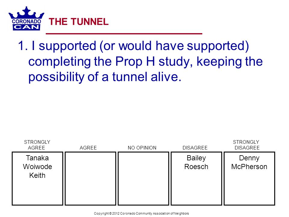 Copyright © 2012 Coronado Community Association of Neighbors THE TUNNEL 2.