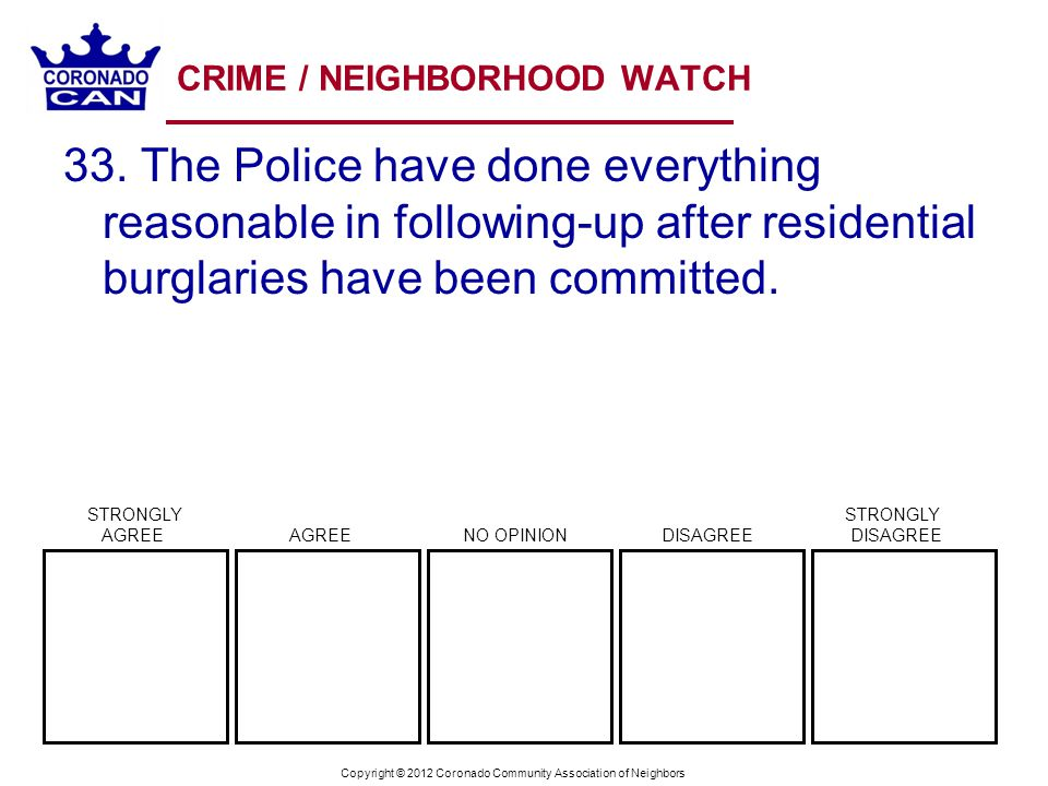 Copyright © 2012 Coronado Community Association of Neighbors CRIME / NEIGHBORHOOD WATCH 33. The Police have done everything reasonable in following-up