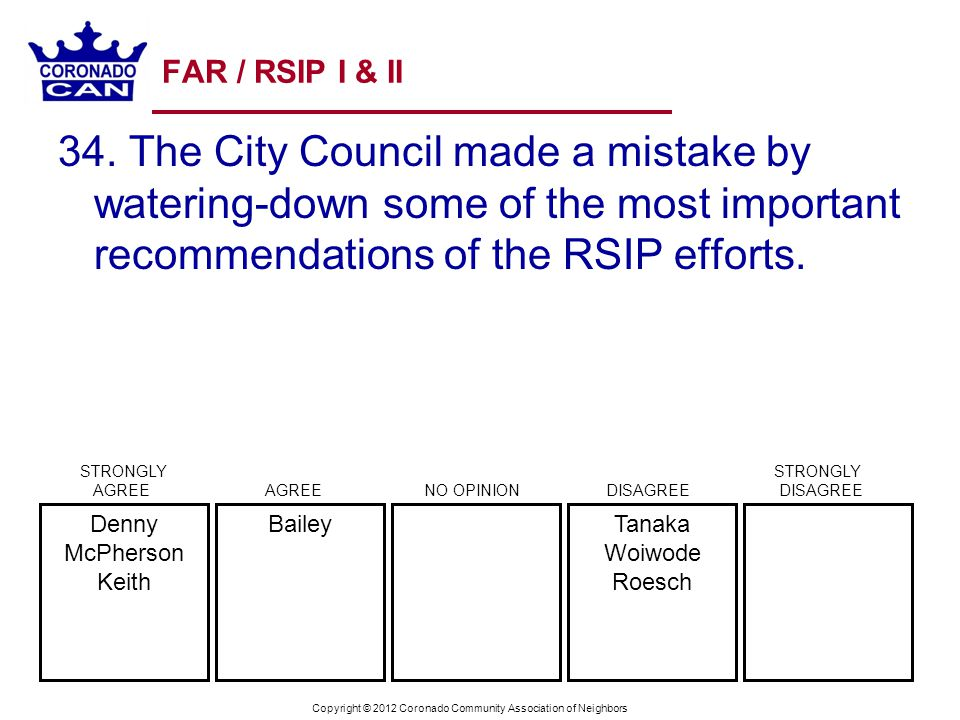 Copyright © 2012 Coronado Community Association of Neighbors FAR / RSIP I & II 34. The City Council made a mistake by watering-down some of the most i