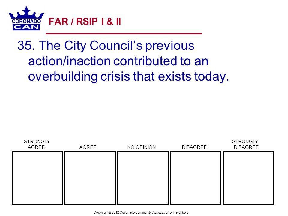Copyright © 2012 Coronado Community Association of Neighbors FAR / RSIP I & II 35. The City Councils previous action/inaction contributed to an overbu
